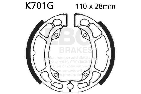 EBC Motorcycle Grooved Replacement Brake Shoes